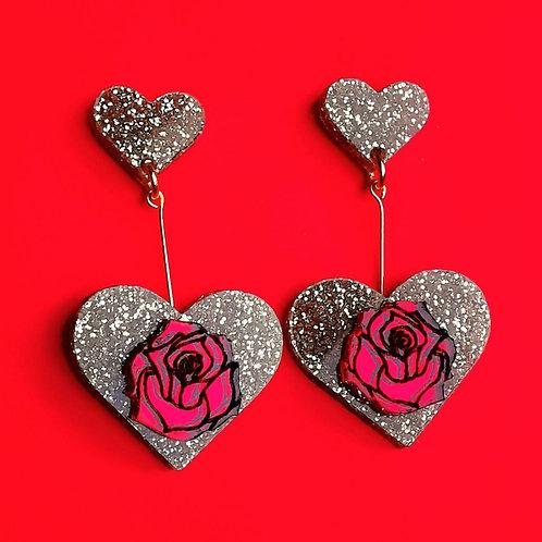 Magic rose drop earrings