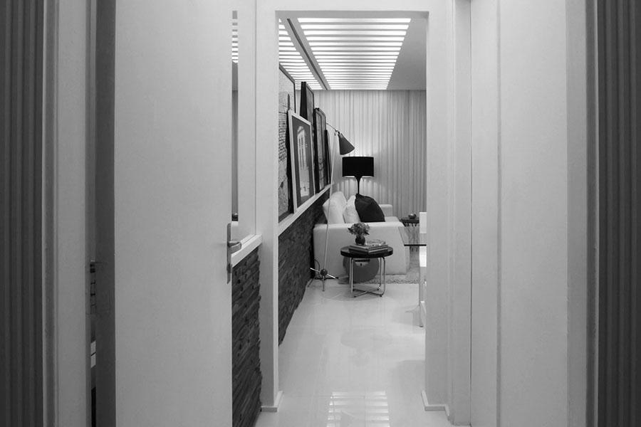 Entrada e sala apartamento