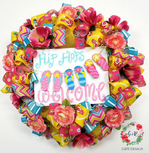 Summer Flip Flop Welcome Wreath