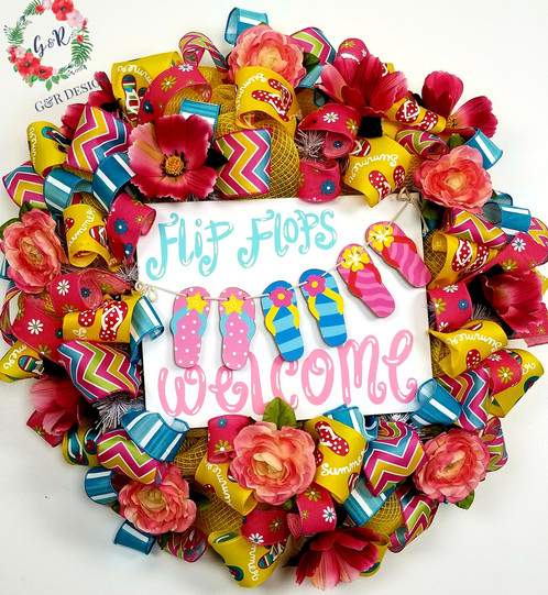 Summer Flip Flop Welcome Wreath