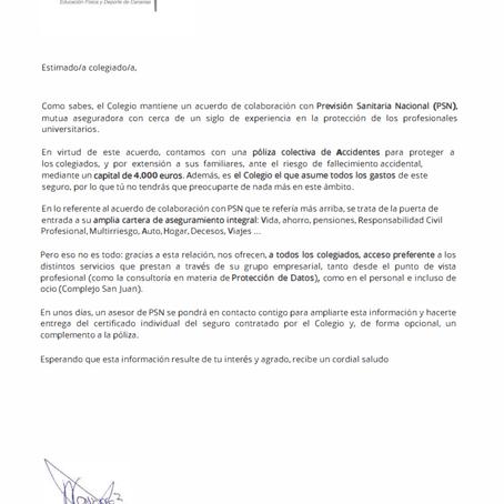 COLEFC acuerdo Previsión Sanitaria Nacional (PSN) - Póliza colectiva de accidentes.