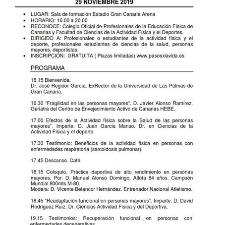 3ª Jornadas Actividad física y personas mayores Pasos x la Vida 2019 -  29 Nov - Gran Canaria