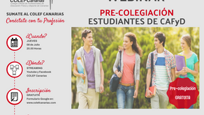 WEBINAR Súmate al COLEF Canarias, Pre-Colegiación estudiantes de CAFyD