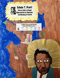 I chose to display Pratt with a map of Seattle in the background. The map highlights the concentrated population of African Americans in Seattle's Central District in the 1960s due to housing discrimination. My parents experienced this firsthand. As newlyweds in the mid-1950s, my parents had trouble finding a real estate agent willing to show them houses north of the Ship Canal Bridge. The dedication, work, and sacrifices by Pratt made it possible for Seattleites to have desegregated schools, neighborhoods, and workplaces.   - Leann Onishi