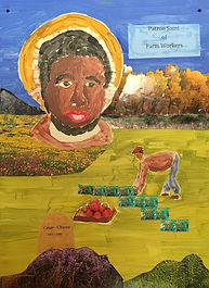 """I chose strawberry picking to emphasize the back toiling work that many farm workers undergo. I chose a western setting because he was born near Yuma, Arizona on March 31, 1927. He moved with his family as a child to Sal Si Puedes, California, which translates to """"escape if you can.""""   - Mary Fournier"""
