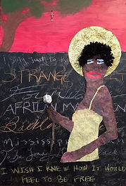 """In homage to her use of such a wide array of musical styles, I chose to depict Nina using several media and textures. Her figure is based on a photograph of her performing in the 1960s. Hanging from the tree is a crucifix, representative of the """"Strange Fruit"""" about which Nina sang: the myriad black lives lost to lynching in America.   - Jeffrey Wilsor"""