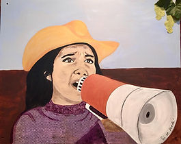 Delores is a peaceful woman with a megaphone, always in action: leading/ protesting/ negotiating/ working/ marching/ advocating/ educating/ caring   My depiction of her also includes grapes, a symbol of the 1965 Delano Grape strike and boycott protesting workers poor pay and working conditions.   - Margi Luttrell