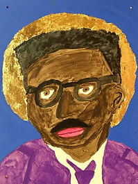There wasn't much method to my madness. I'm not a skilled painter, so getting something—anything—down was the goal. I figured while I was pushing myself outside my comfort zone, I'd add the challenge of using fake gold leaf for the first time. One conscious artistic choice I made was choosing purple for the suit and tie. I picked that color to give Rustin an air of royalty.  - Scott Collins