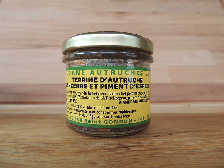 Terrine d'autruche au sancerre et piment d'espelette 100g