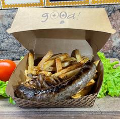 andouille grillée d'autruche frites maison