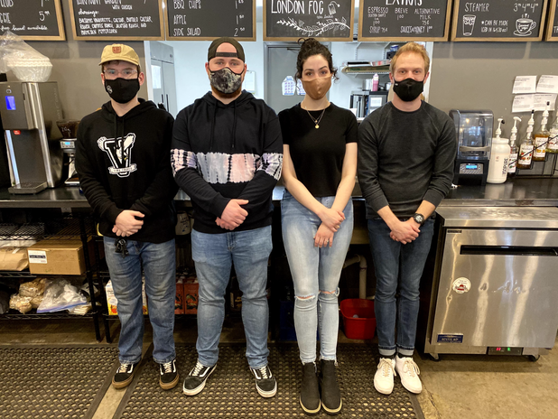 Our Fairmount Coffee Team and their unplanned matching outfits!