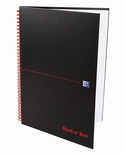 """Oxford zápisník Notebook """"Black n 'Red"""", A4, štvorčekový, 70 listov"""