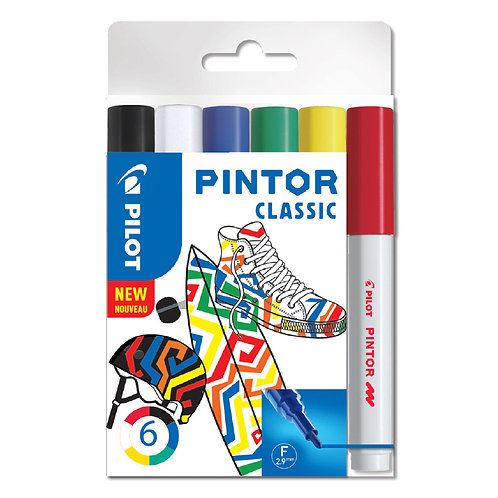"Pilot dekoračný popisovač ""Pintor"" Classic, sada 6ks, hrot F"