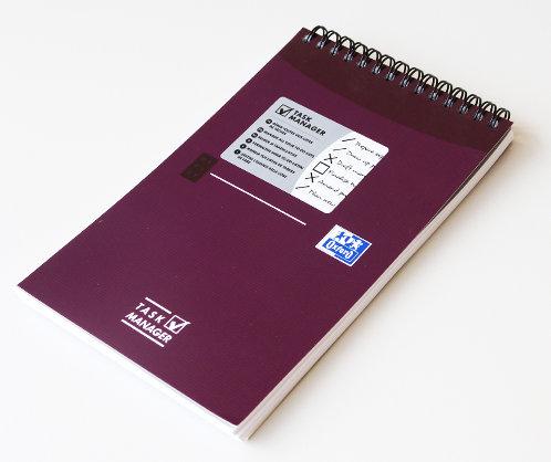 """Oxford úkolníček """"Task Manager"""", 12.5x20cm, linkovaný, 70 listů, fialový"""