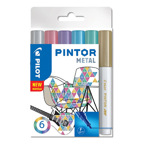 "Pilot dekorativní popisovač ""Pintor"" Metal, sada 6ks, hrot F"