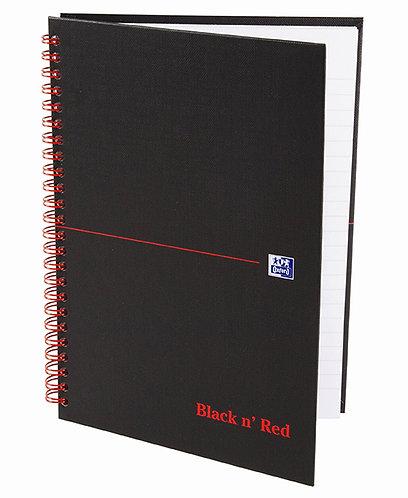 """Oxford zápisník Notebook """"Black n' Red"""", A5, štvorčekový, 70 listov"""
