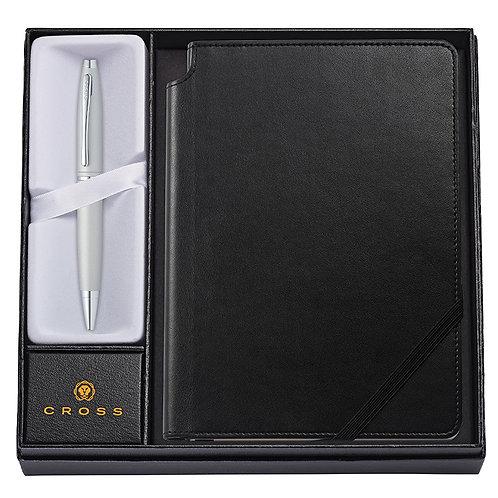 """Cross kuličkové pero """"Calais"""", matný chrom, sada se zápisníkem"""
