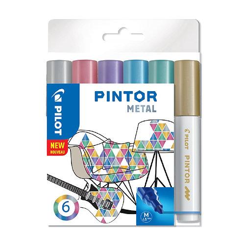 "Pilot dekorativní popisovač ""Pintor"" Metal, sada 6ks, hrot M"