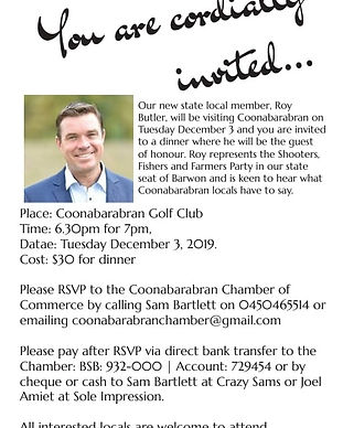 Chamber of Commerce - Dinner with Roy Bu
