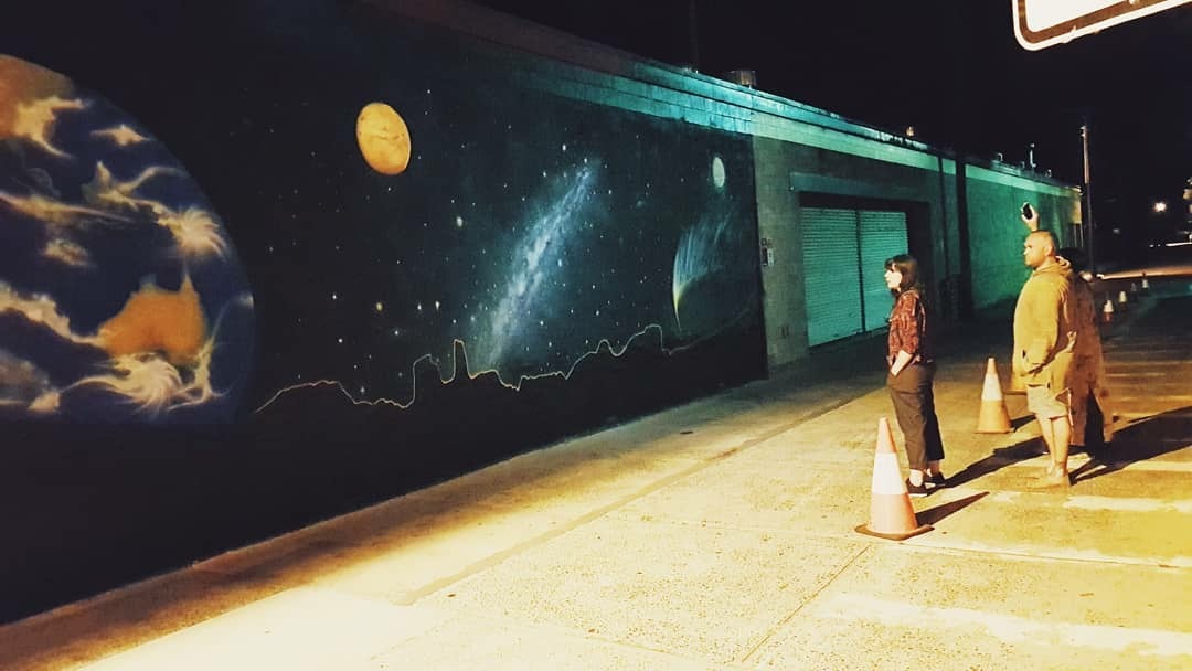 Night view of Space Mural
