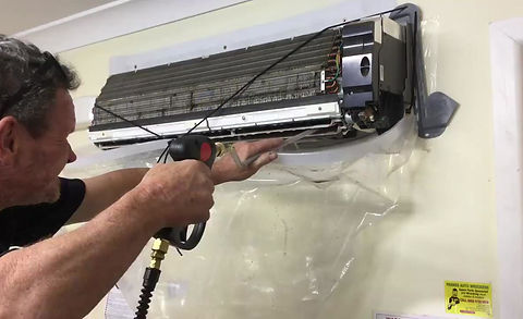 Demo of Brian using the Speedy Air Conditioner Cleaner