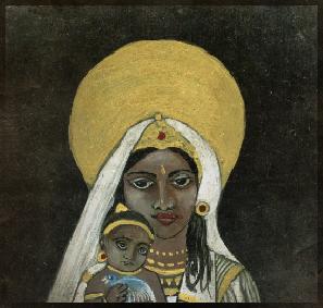 Krishna et Devaki 10 cm x 10 cm