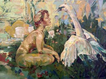 """Leda and the Swan, 42""""x32"""""""