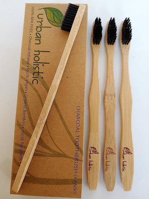 Biodegradable Bamboo/Charcoal 4pk Toothbrush