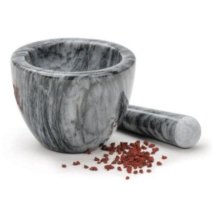 Mortar and Pestle, Dark Grey Marble