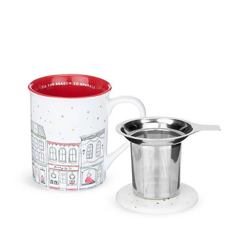 Annette™ Street Red Ceramic Tea Mug & Infuser