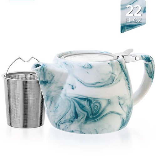 Marble Porcelain Marine Teapot With Infuser 22oz