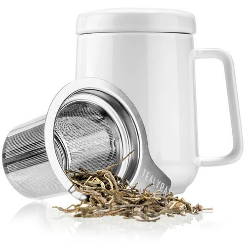 Peak Ceramic Mug with Infuser - White