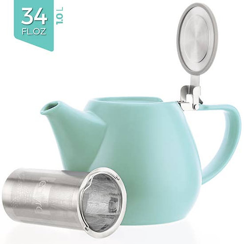 Jove Turquoise Porcelain Teapot With Infuser 34oz