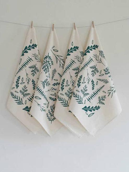 Set of 4 Organic Woodland Fern Cloth Napkins