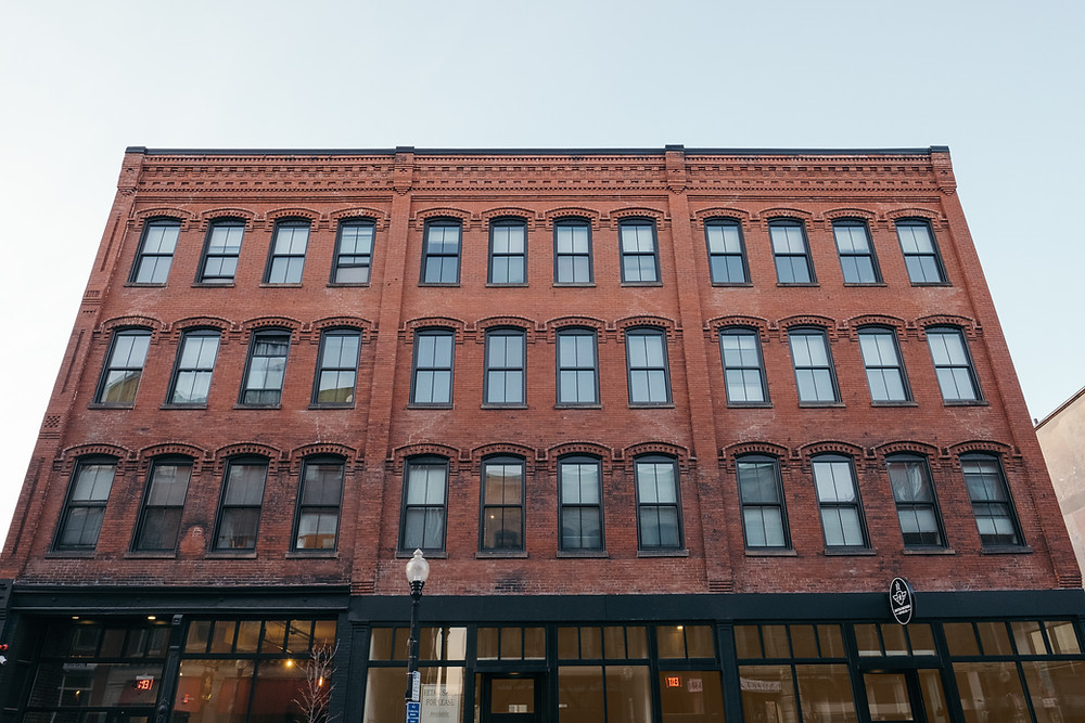 The restored facade of JM Lofts