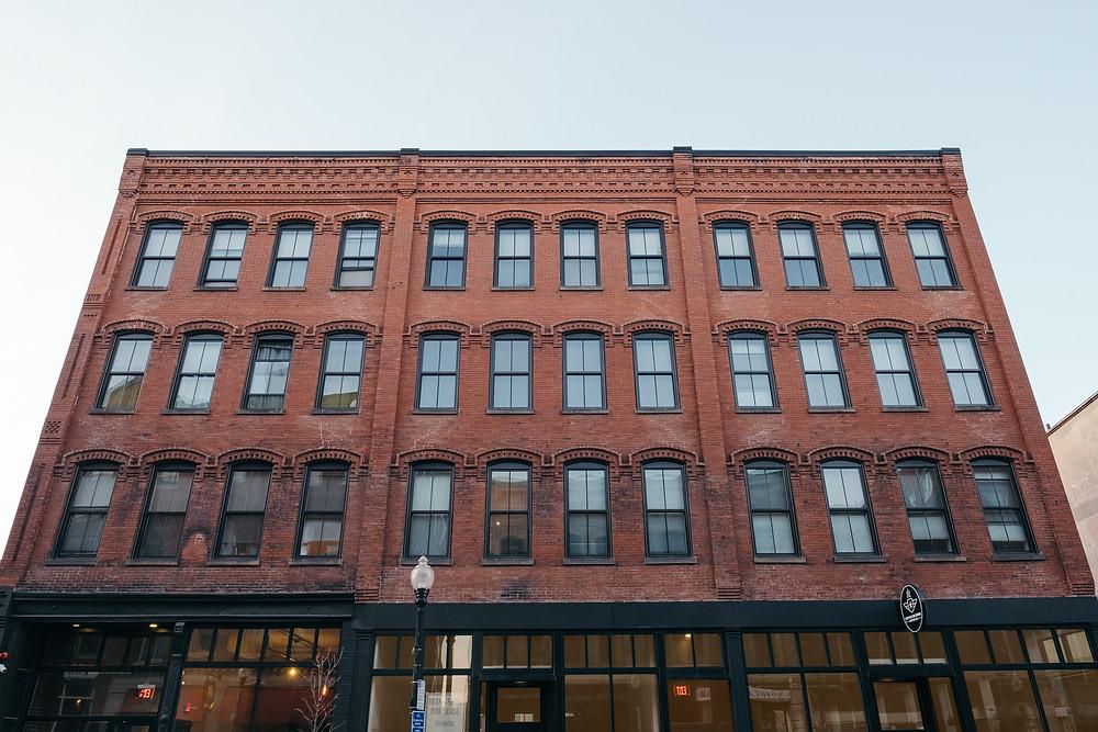 The restored facade of JM Lofts
