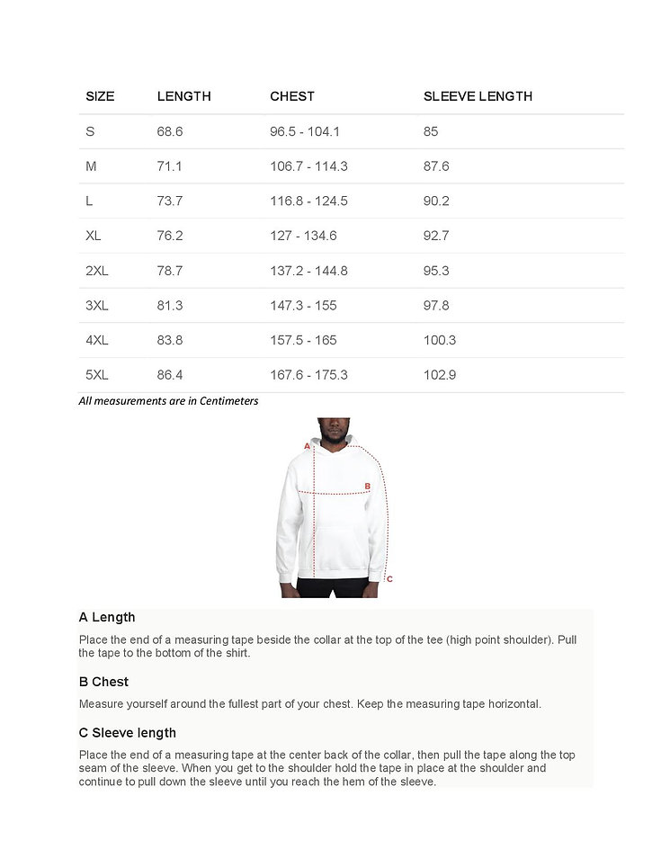 Hoodie description and size chart final-