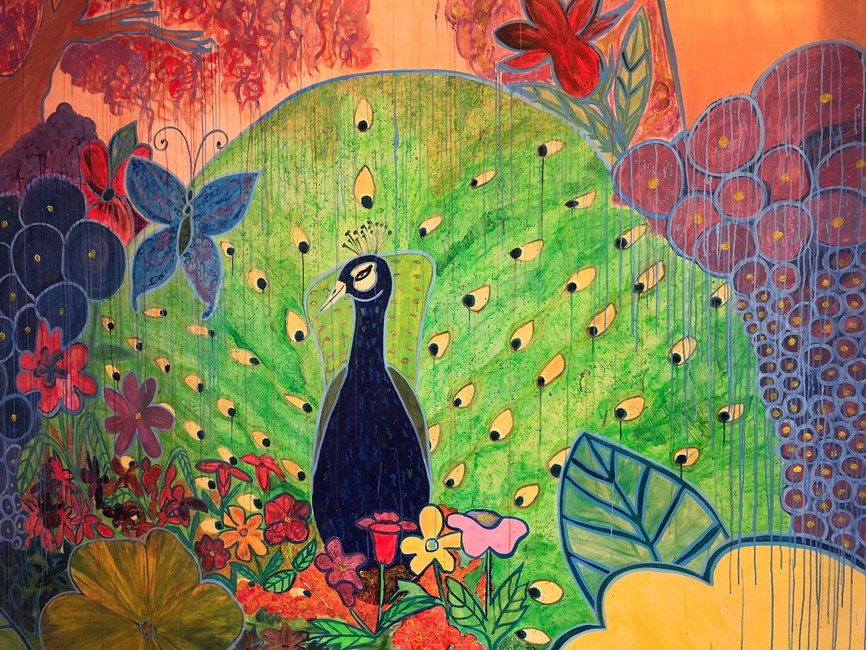 Peacock with Floral Garden