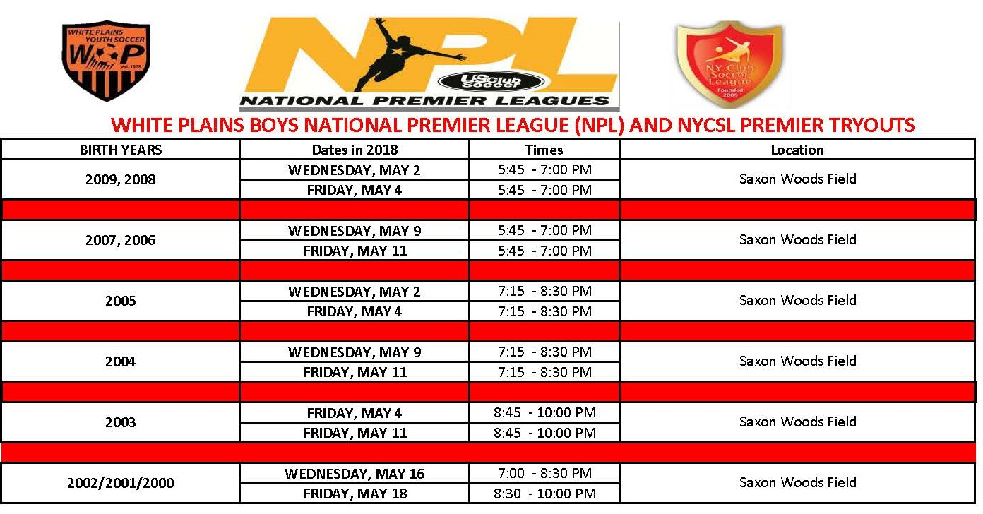 NPL AND PREMIER LEAGUE TRYOUTS