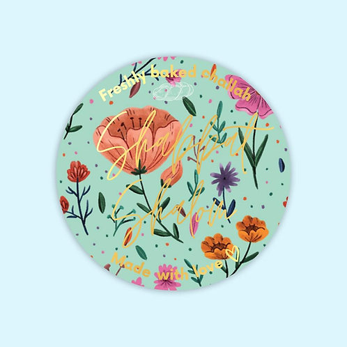 Seaside floral  | 10  Challah stickers