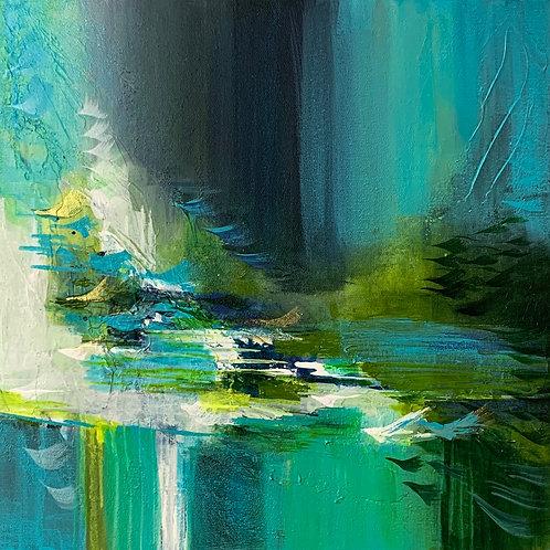 Green horizon 12x12 white frame