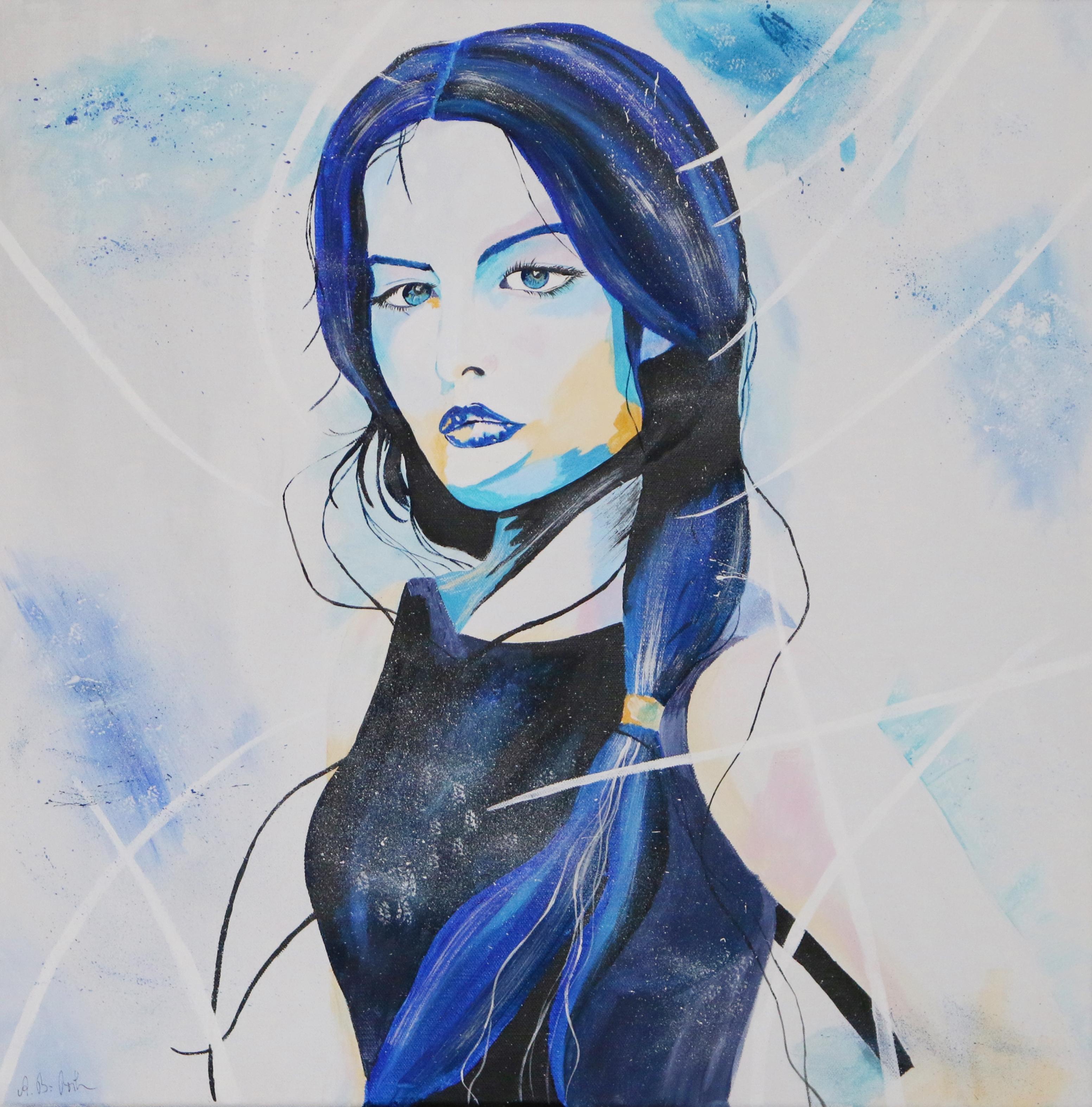 Frau in Blau.60x60