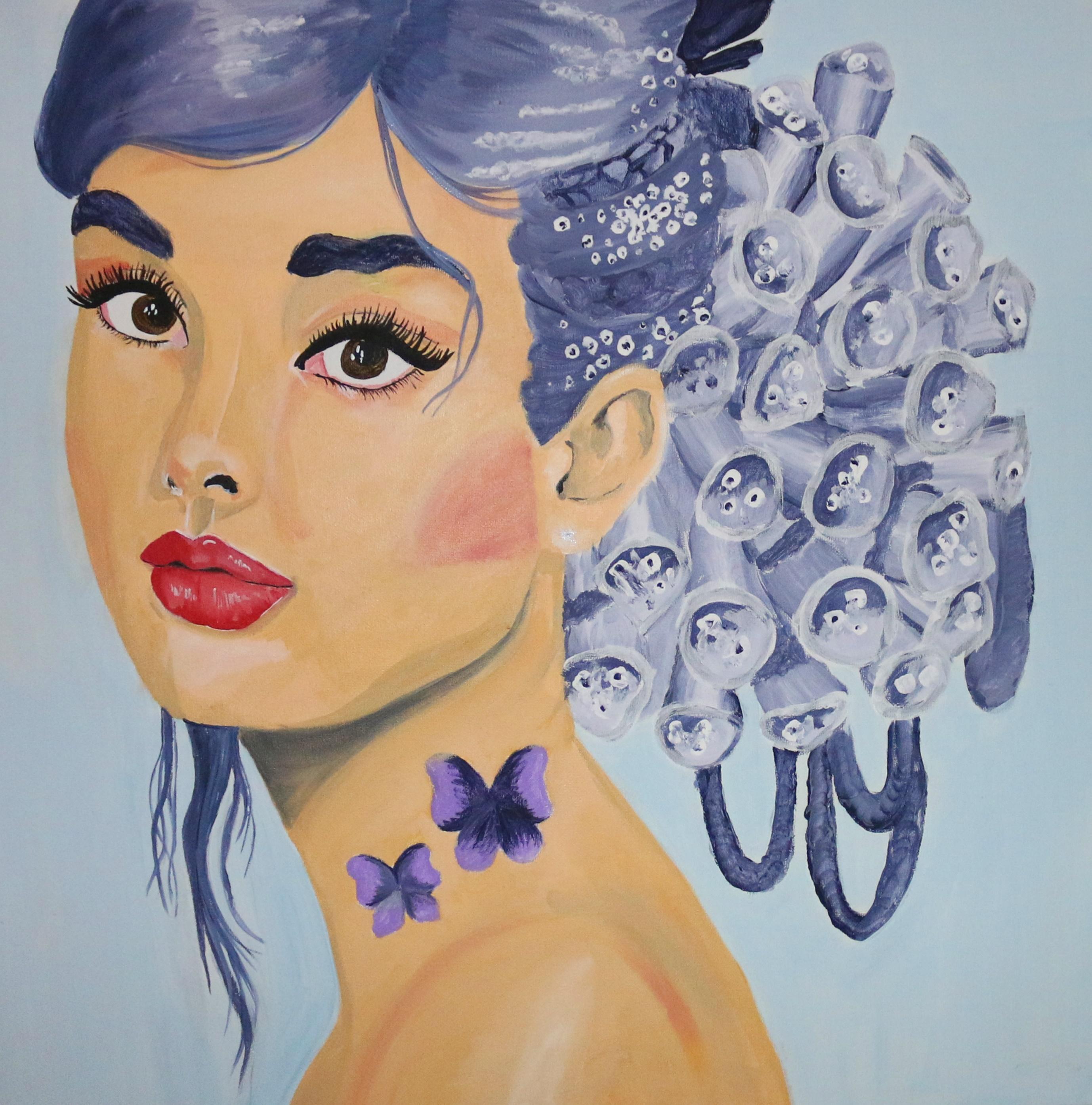 Die Veilchenblumen Frau