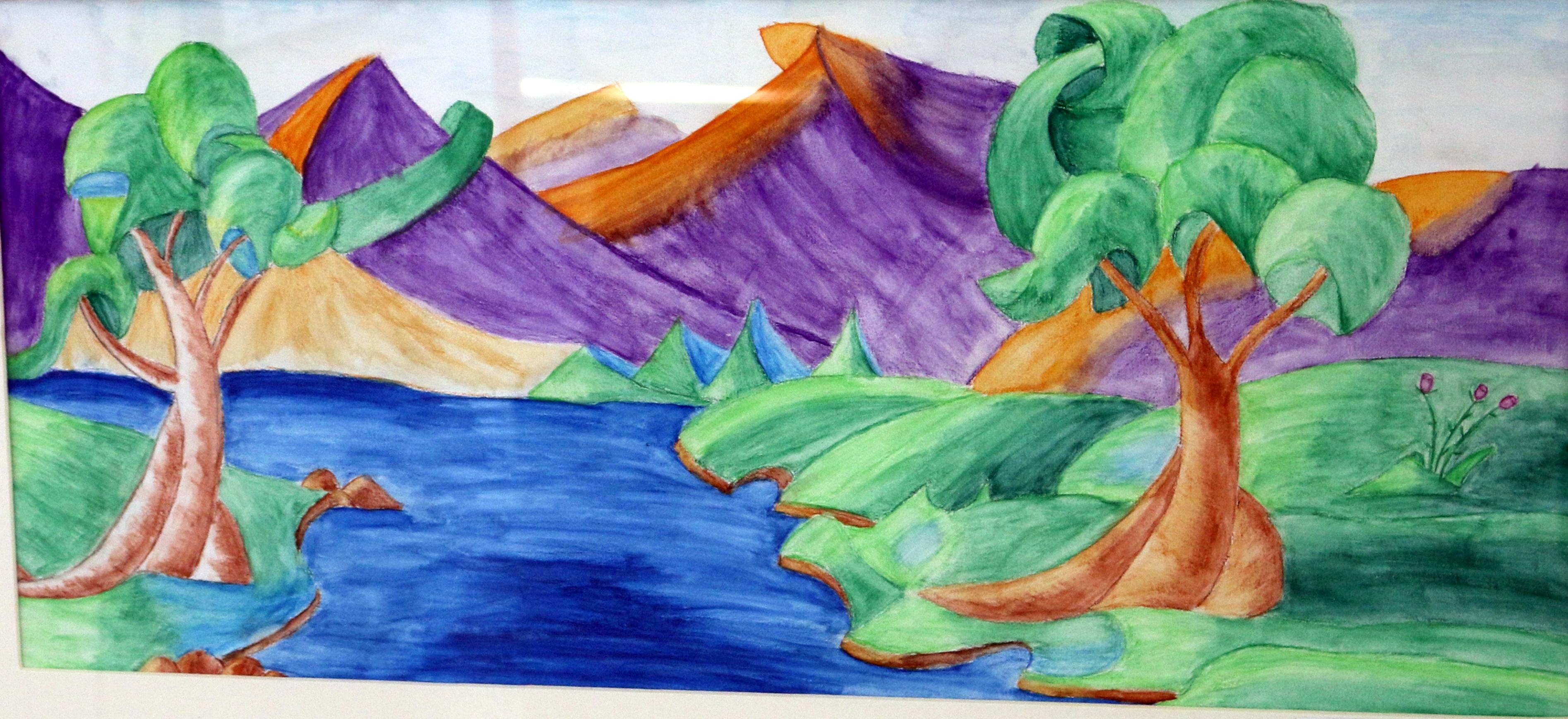 Landschaft in Aquarell