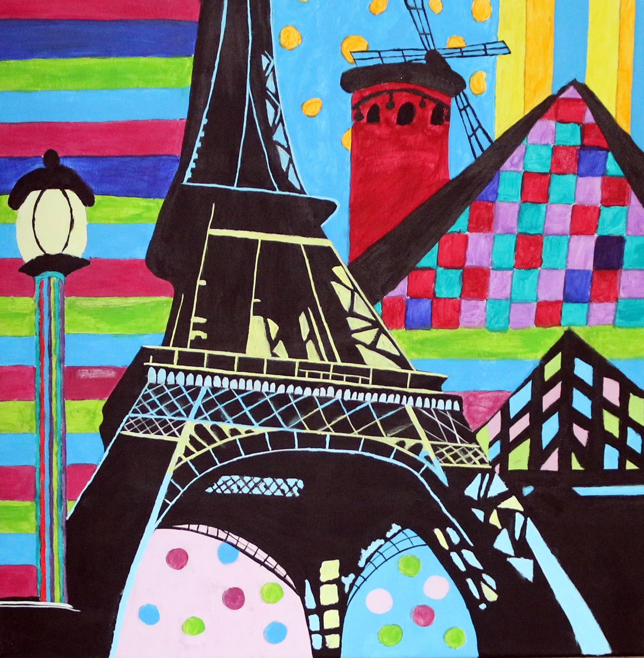 Eifelturm Louvre et moulin Rouge