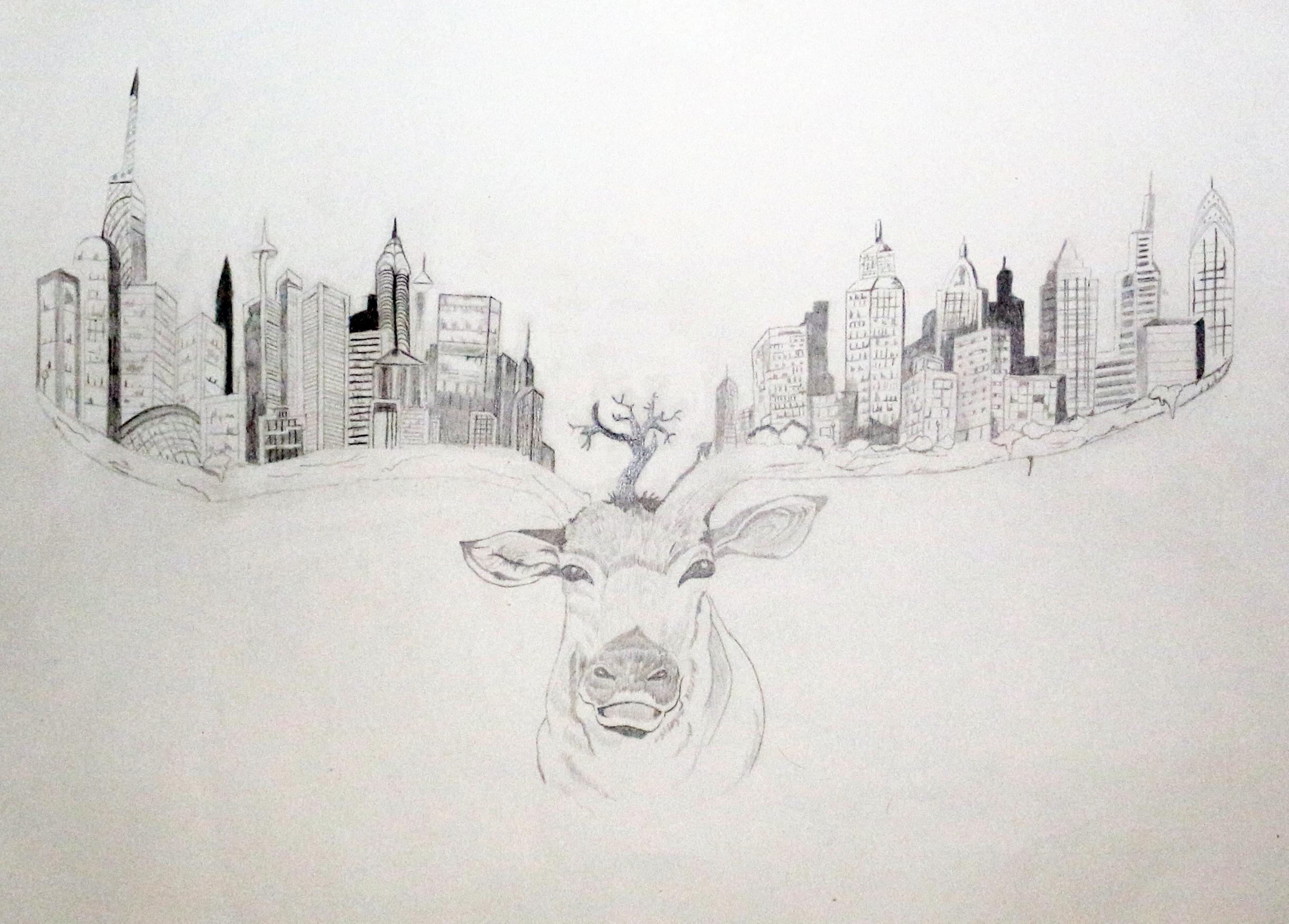 ein Hirsch und die große Stadt