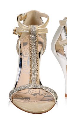 Carmen Ivory Glitter T-Bar Wedding Sandal