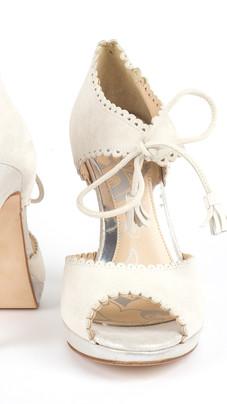 Anoush White Tie Front Wedding Shoe