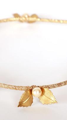 Fine Gold Leaf and Pearl Headband
