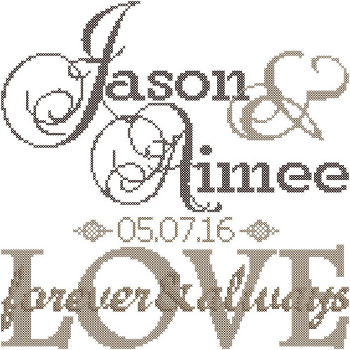 Modern Wedding Cross Stitch Pattern Forever & Always Love